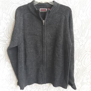 Men's Wool Sweater Zip Front Whispering Smith M